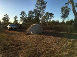 Our tent set up a bit off the highway